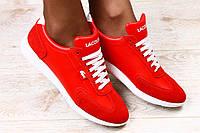 Женские кроссовки,красные с комбинированной кожи Lacoste с белыми шнурками и белой подошве
