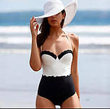 Жіночий стильний спільний чорно-білий купальник, фото 2