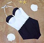 Женский стильный совместный черно-белый купальник, фото 3