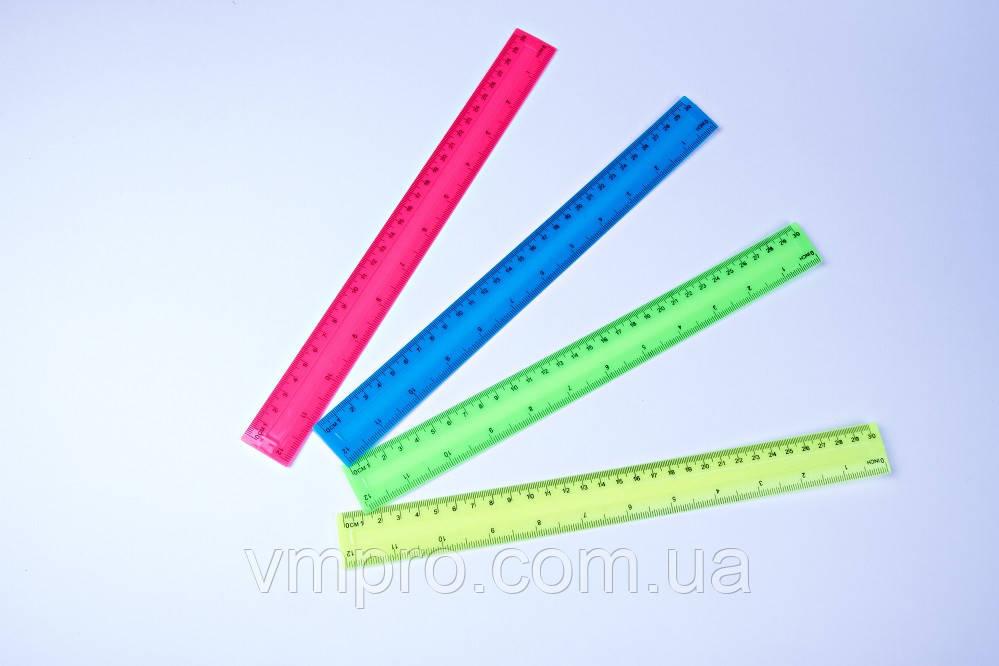 """Линейки цветные пластиковые """"Неон"""", 30 см, №1130"""