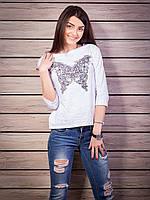 Кофта женская с принтом Бабочка p.42-50 цвет белый VM1876-1