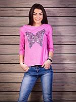 Кофта женская с принтом Бабочка p.42-50 цвет розовый VM1876-5