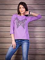 Кофта женская с принтом Бабочка p.42-50 цвет сиреневый VM1876-4