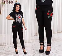 Женские батальные джинсы в цветочек 884602 (бат)