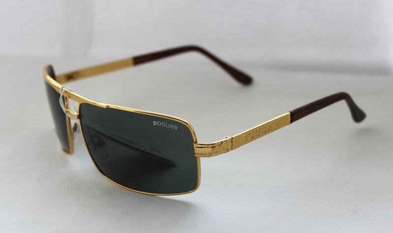 Вычурные прямоугольные мужские солнцезащитные очки черно-золотистые