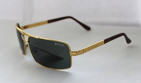 Вычурные прямоугольные мужские солнцезащитные очки черно-золотистые, фото 2