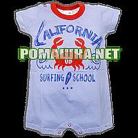 Детский р 86 9-12 мес летний песочник-футболка ромпер для мальчика малышей на лето 3537 Синий