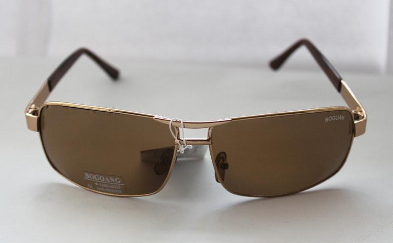 Вычурные прямоугольные мужские солнцезащитные очки бронзовые