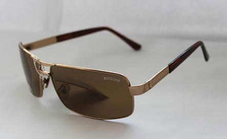 Вычурные прямоугольные мужские солнцезащитные очки бронзовые, фото 2