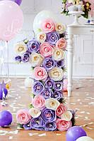 Объёмная цифра  1 (цветочками)