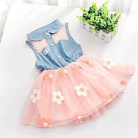 Дитяча сукня,джинсовий сарафан квіти, фото 1