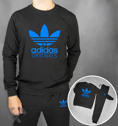 Спортивный костюм Adidas черный с синей надписью