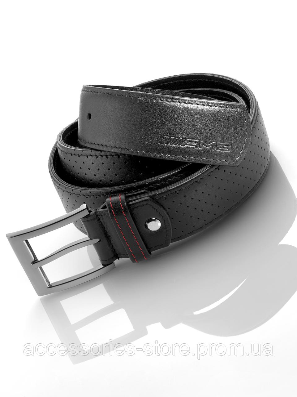 Мужской кожаный ремень Mercedes-Benz Belt, AMG, Black, Leather/Stainless Steel