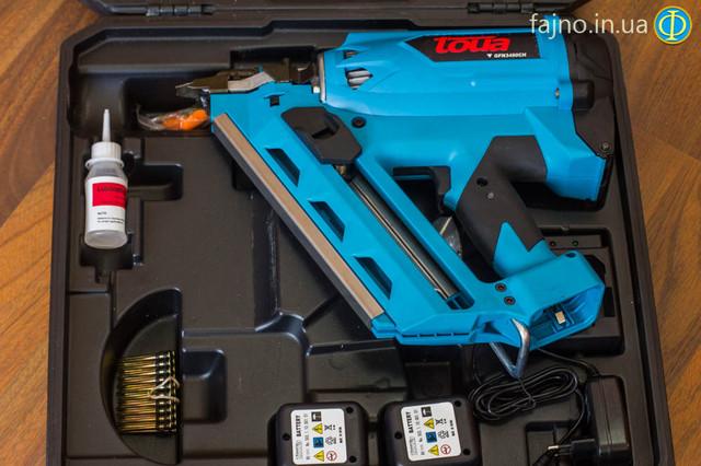 Гвоздезабивной газовый пистолет Toua GFN3490CH по дереву: комплектация