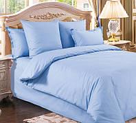 Элитное синее постельное белье Cатин