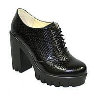 """Женски туфли на тракторной подошве, на шнуровке. Натуральная кожа """"питон"""". 37 размер"""