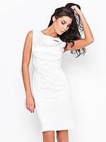 Элегантное стильное женское платье миди из атласа приталенного силуэта без рукавов 90177