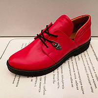 Туфли женские, низкий ход, на шнурке, красные