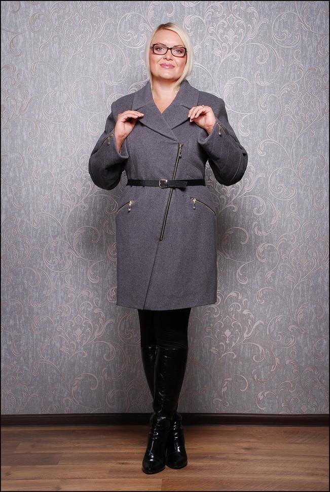 Женское пальто из кашемира с утеплителем Д 612 серое