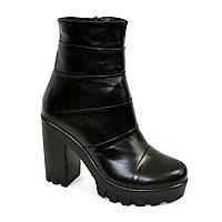 Женские зимние ботинки на тракторной подошве, натуральная кожа, фото 1