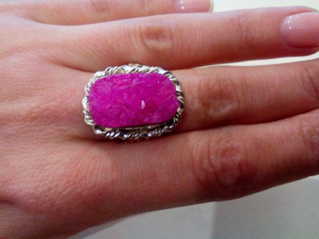 Друза агата кольцо с камнем друза агата в серебре. Кольцо с друзой. Размер 19,5. Индия