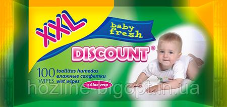 DISCOUNT Влажные салфетки для детей 100 шт. АЛОЭ ВЕРА