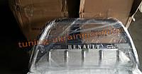 Защита переднего бампера кенгурятник с надписью  из нержавейки на Renault Kangoo 1998-2008