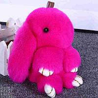Мягкая игрушка кролик натуральный мех малиновый