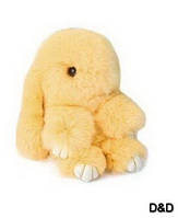 Мягкая игрушка  кролик натуральный мех желтый