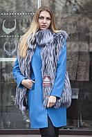 Жилет из финской длинноворсной чернобурки SAGA Silver foxfur vest gilet sleeveless, фото 1