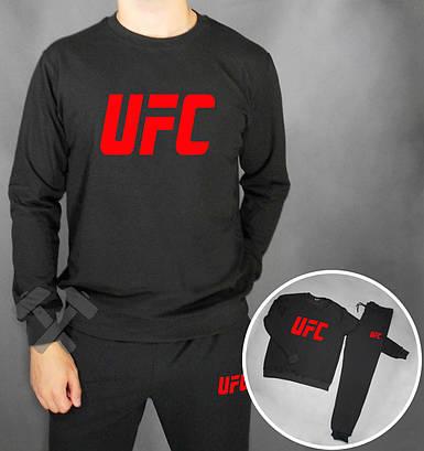 Спортивный костюм UFC черный с красным лого