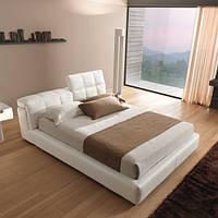 Итальянская белая кожаная кровать с регулируемым подголовником SLIM фабрика MAX DIVANI