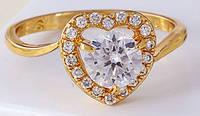 Кольцо позолота Gold Filled, цирконы (GF75) размер 16,17,18