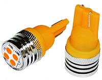 Светодиодные лампы LED W5W 4-SMD (Желтый)(3030)