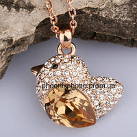 Яркий кулон - птица с кристаллами Swarovski + цепочка, покрытые золотом (303151)