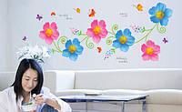 Інтер'єрна наліпка на стіну Квіти / Интерьерная декоративная наклейка на стену Цветы (ay7208)
