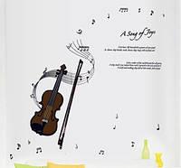 Інтер'єрна декоративна наліпка на стіну Скрипка / Интерьерная наклейка стикер на стену Скрипка (ay7180)