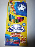 Карандаши цветные 12/24 цвета ASTRA двухсторонние с точилкой