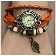 Часы-браслет с подвеской листик Рыжие
