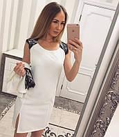 Женский стильный повседневный костюм: жакет и платье с кружевом (5 цветов)