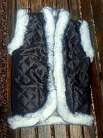 Жилетка из овчины черного цвета S - XL