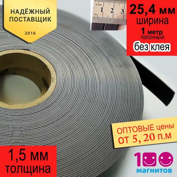 Магнитная лента 25,4 мм х 1,5 мм без клеевого слоя