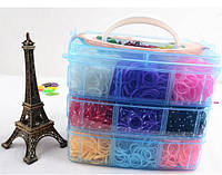 Резинки для плетіння Rainbow Loom / Резиночки для плетения браслетов, чемоданчик 3 уровня (6000 шт., станок)