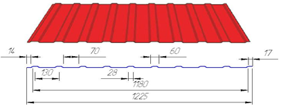 Профнастил ПС-8 цинк 0,35мм
