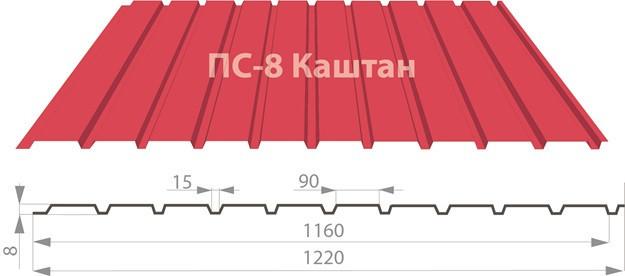 Профнастил ПС-8 Каштан полиестер 0,45мм - СК «Nicoll» в Харькове