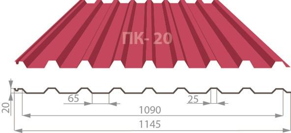 Профнастил ПК-20 матполиестер 0,45мм