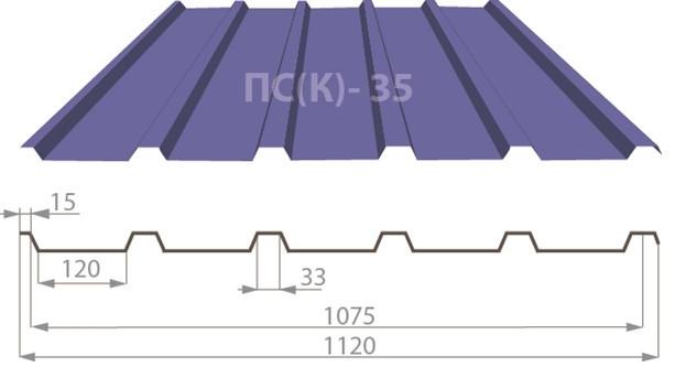 Профнастил ПС(ДО)-35 цинк 0,65 мм