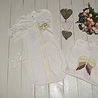 """Европеленка кокон с шапочкой """"Ангел"""" для новорожденного малыша. Молочная"""