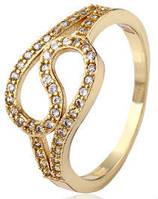 Кольцо Изгибы позолота с цирконами Размер 18 (gf635