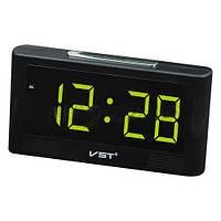 Часы будильник электронные VST 732-2 зеленые, выбор мелодии, резервное питание 2хААА, календарь